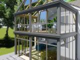 重庆欧式罗马柱断桥铝合金系统阳光房别墅花园露台阳台隔热玻璃房