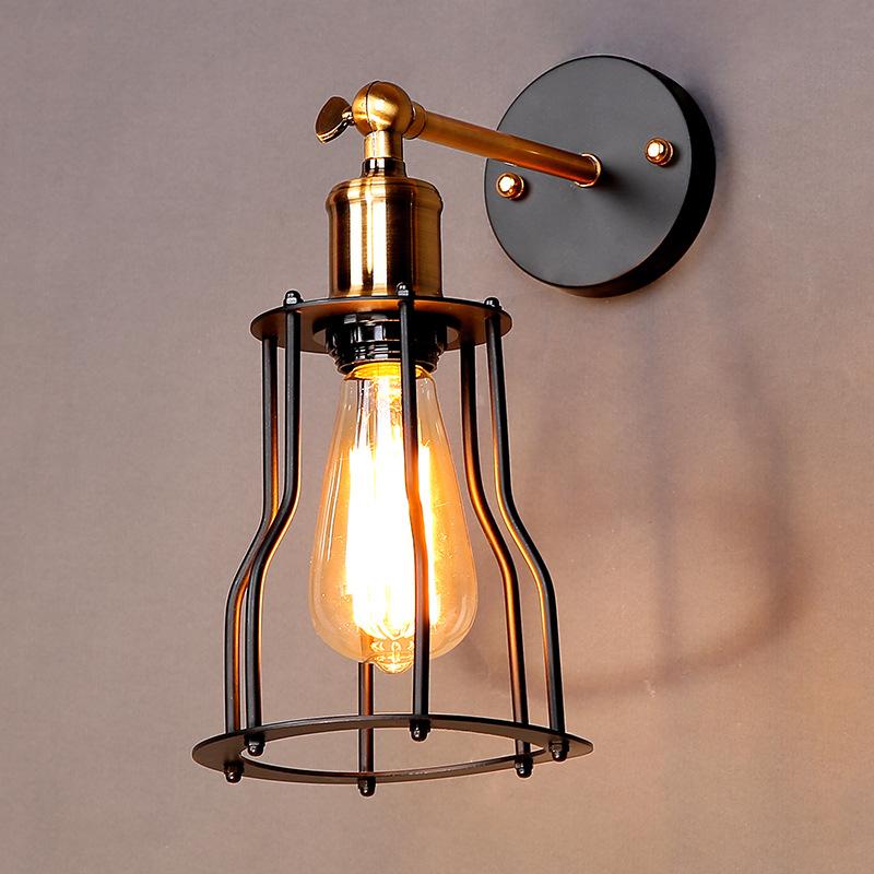 欧式酒吧餐厅咖啡馆文艺共性设计师格调床头仿古铁艺铁架子壁灯