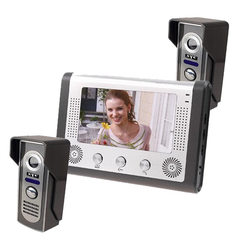 7寸可视门铃家用视频可视电话金属外机夜视防水功能二对一 山一视达