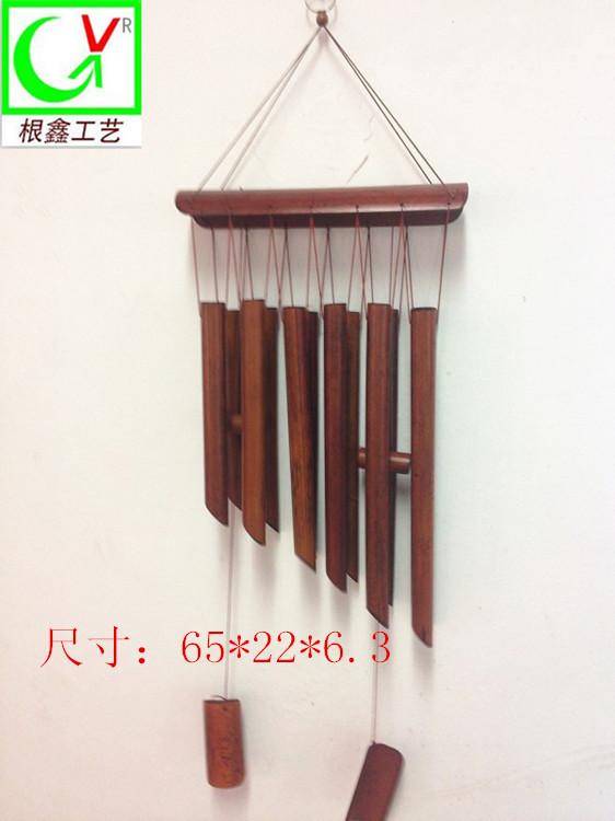 厂家直批纯手工多管创意大号竹木风铃 纯手工 酒红色