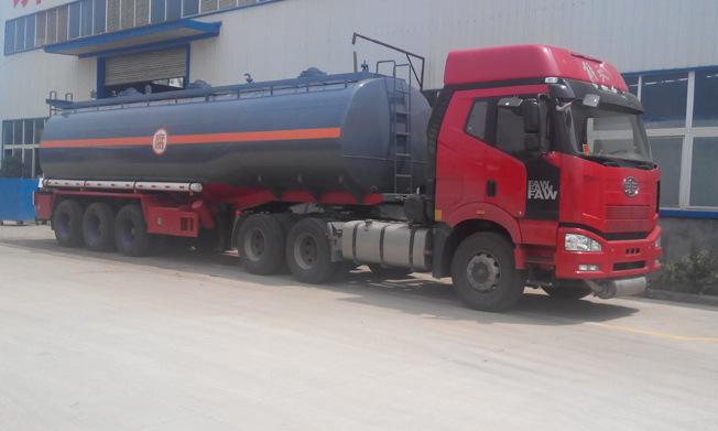 厂家生产液碱半挂槽罐车 化工液体槽罐车 40吨防腐液罐车订做