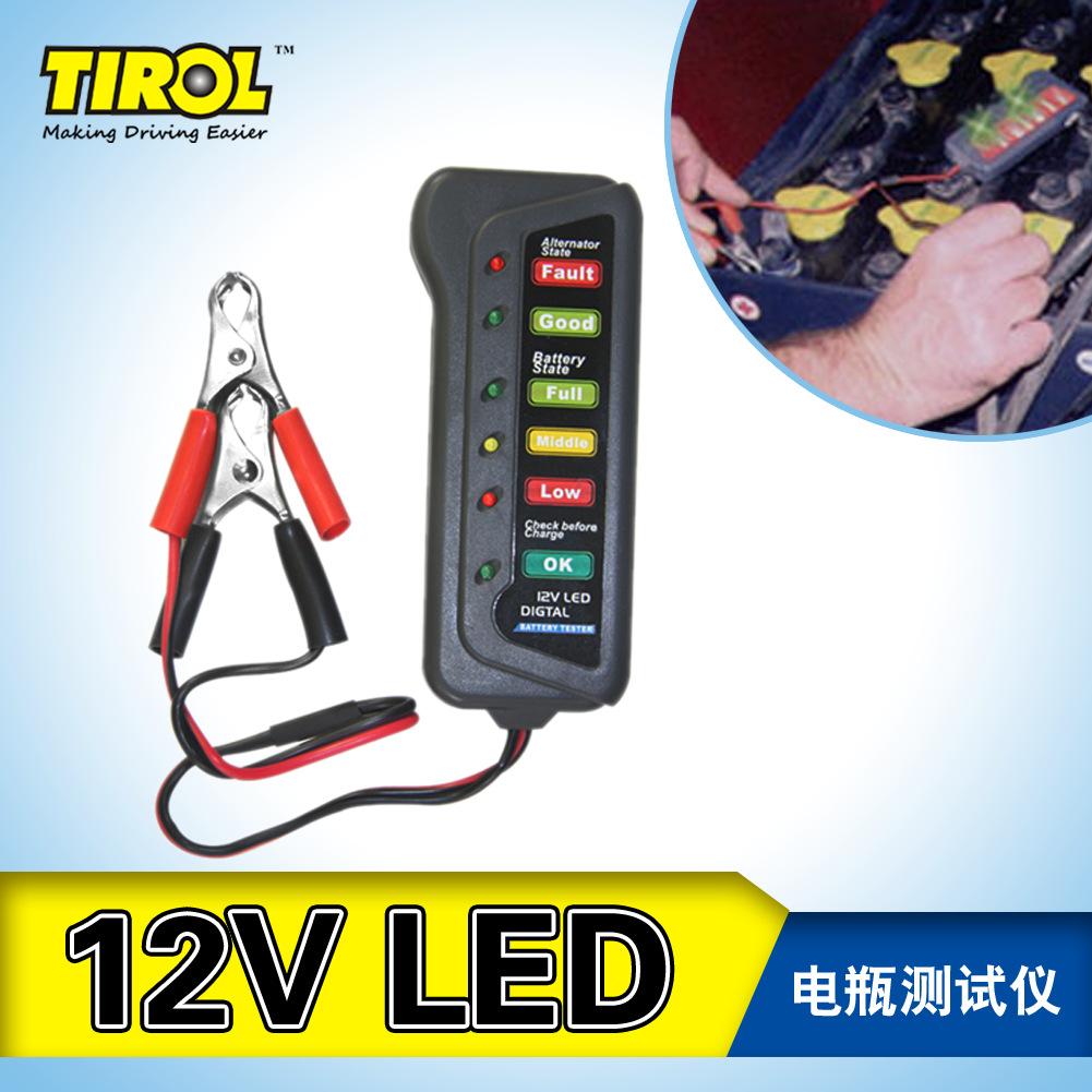 TIROL外贸热卖12V6LED电瓶测试仪汽车摩托车电瓶车蓄电池检测仪
