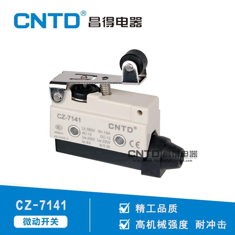 直销CNTD昌得电器CZ-7141限位自复位长柄带滚轮防水微动开关 直流型