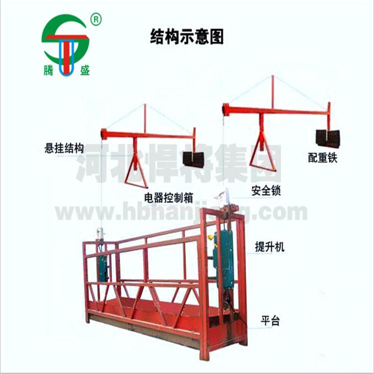 大量批发 建筑施工吊篮 4m外墙装修机械吊篮 高空工作升降吊篮