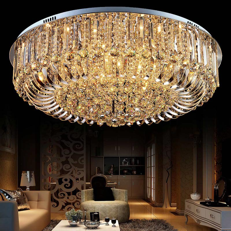 简约LED客厅吸顶灯大气圆形水晶灯卧室书房餐厅灯具现代水晶灯