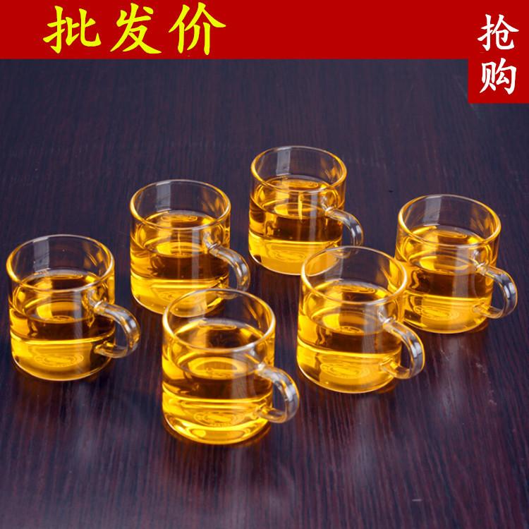 加厚高硼硅玻璃小把杯手工通明品茗杯厂家加工零售