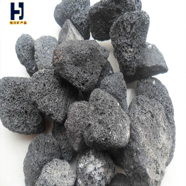 黑色园艺铺面火山石厂家 火山岩 花卉园艺滤料 恒川矿业
