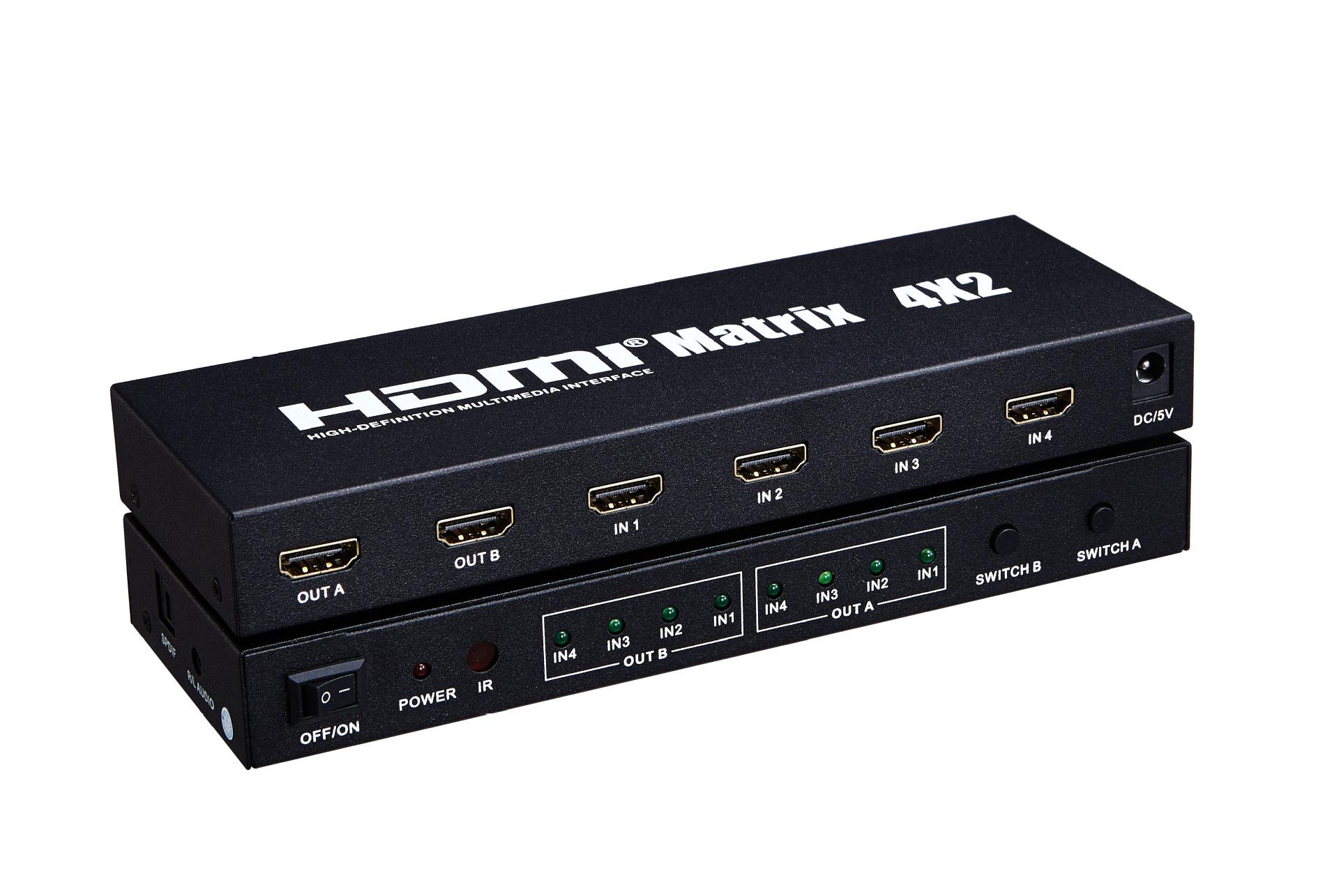 厂家直销hdmi高清视频矩阵四进二出带音频输入 切换矩阵