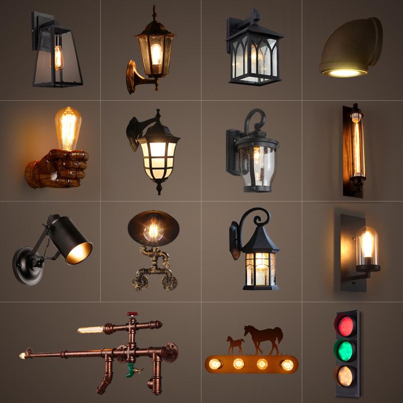 欧式怀旧工业风过道创意客厅卧室内壁灯美式户外防水阳台铁艺水管