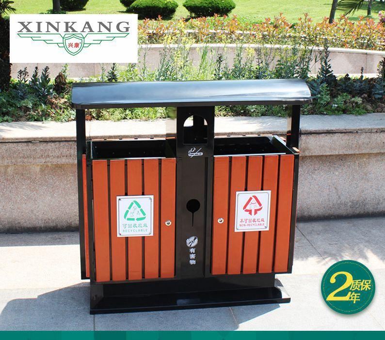 塑胶木户外垃圾桶 镀锌板+塑胶木 长方形