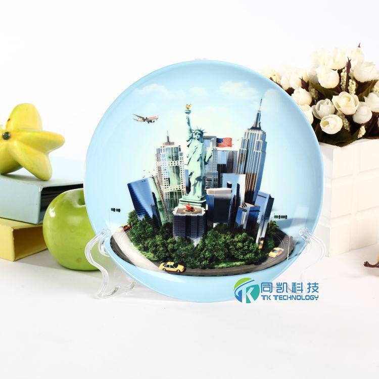 8寸月光盘热转印陶瓷盘子优质涂层全白浅式盘3d全幅面烫画盘装璜