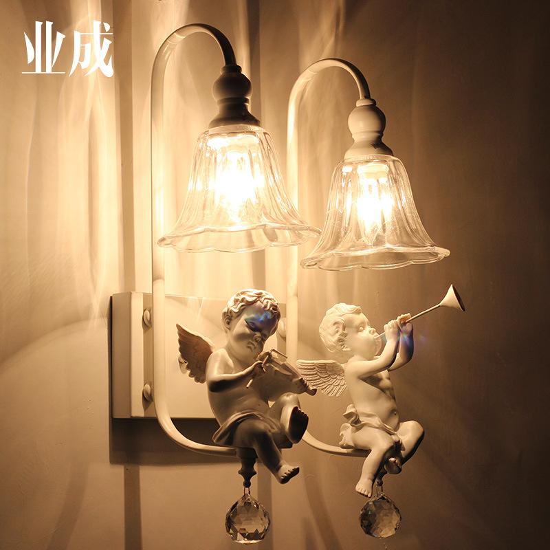北欧创意儿童房卧室壁灯美式简洁镜前灯欧式床头客厅双头天使壁灯