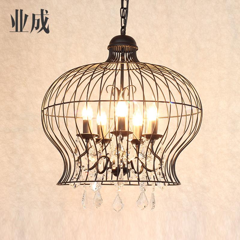 美式农村水晶吊灯圆形铁艺服装店创意餐厅客厅吊灯黑色鸟笼蜡烛灯