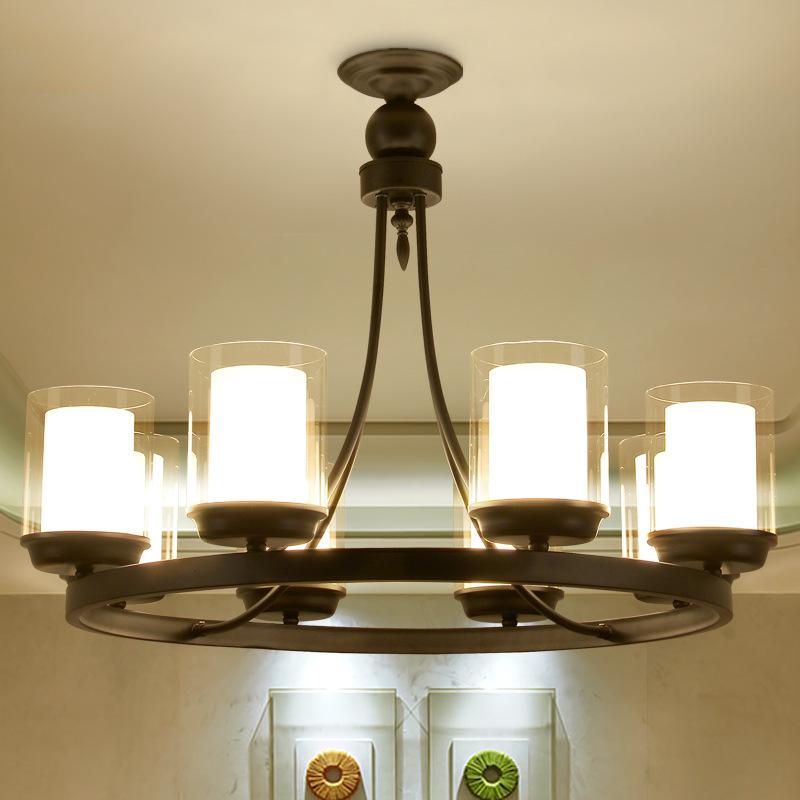 美式吊灯客厅铁艺农村餐厅吊灯北欧怀旧卧室灯创意蜡烛台仿云石灯