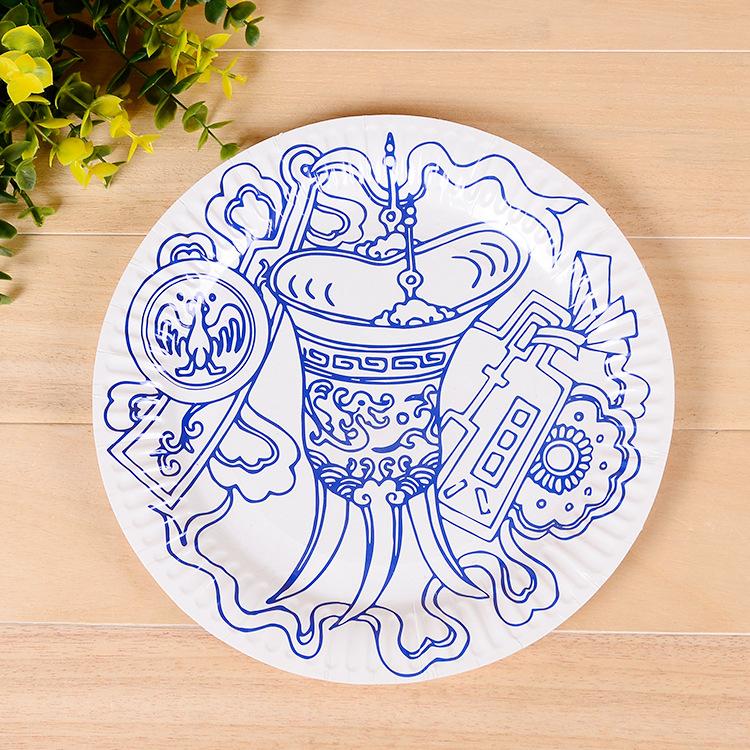 纸盘子画花边素材