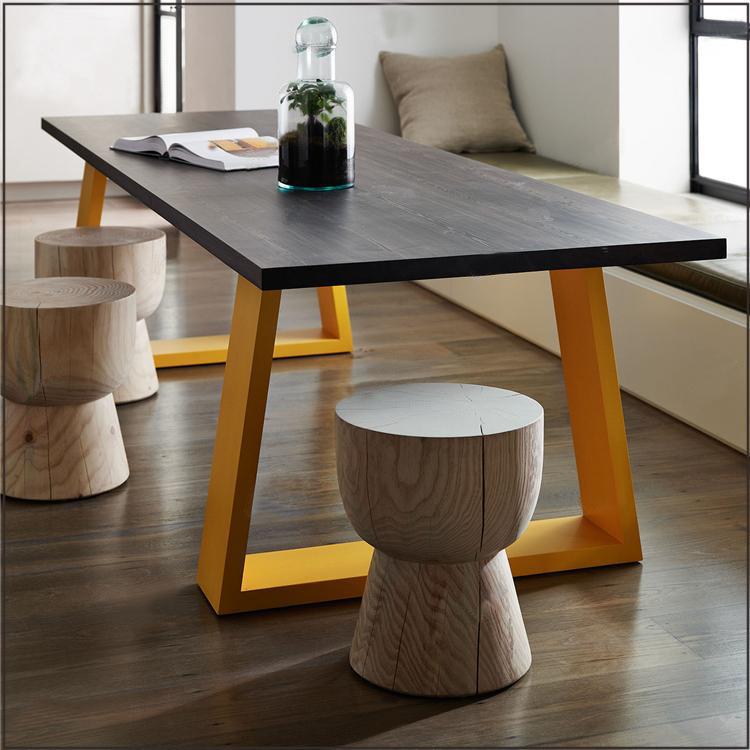 怀旧铁艺工作台时髦多人餐桌饭桌 美式乡村 来图定制
