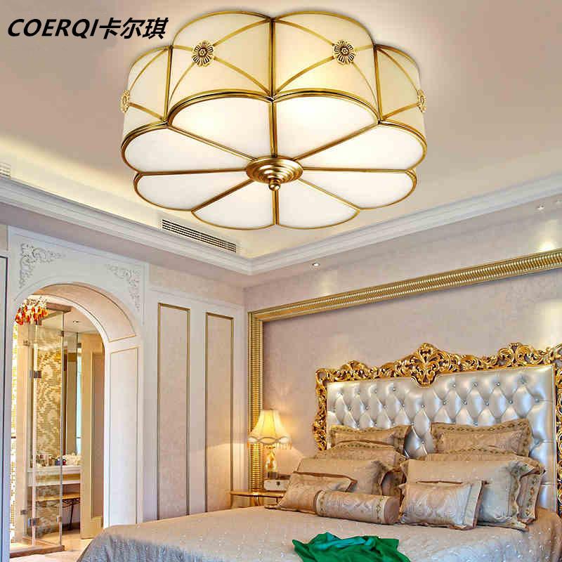 led室内家具照明简约装修美式乡村全铜吸顶灯温馨圆形卧室灯欧式