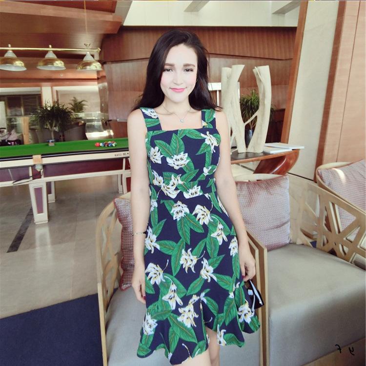 泰国潮牌印花绿叶鱼尾连衣裙 印花/印染 吊带款 荷叶边裙