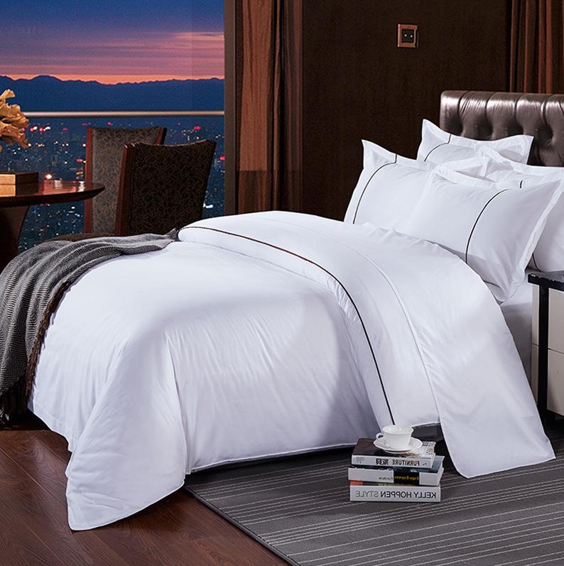 床上用品全棉红色贡缎四件套牙条被套床单枕套零售