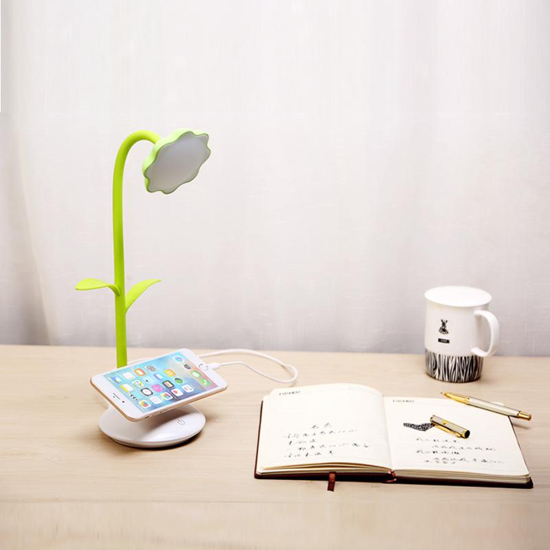 太阳花LED充电台灯手机支架护眼学习小台灯可伸缩折叠无极调光灯