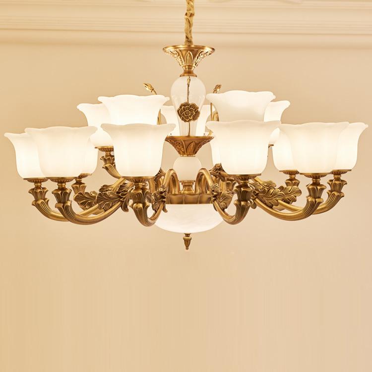新款白玉玻璃欧式水晶吊灯古铜色锌合金客厅灯卧室书房餐厅灯具 led灯