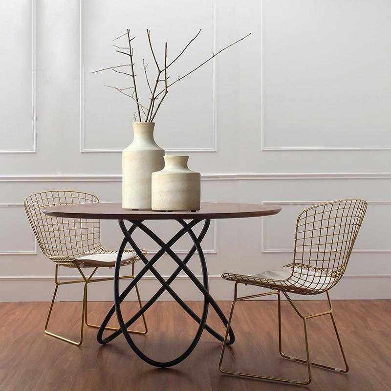 复古实木圆桌铁艺创意客厅餐桌椅家具圆形茶几咖啡厅餐厅圆形桌子