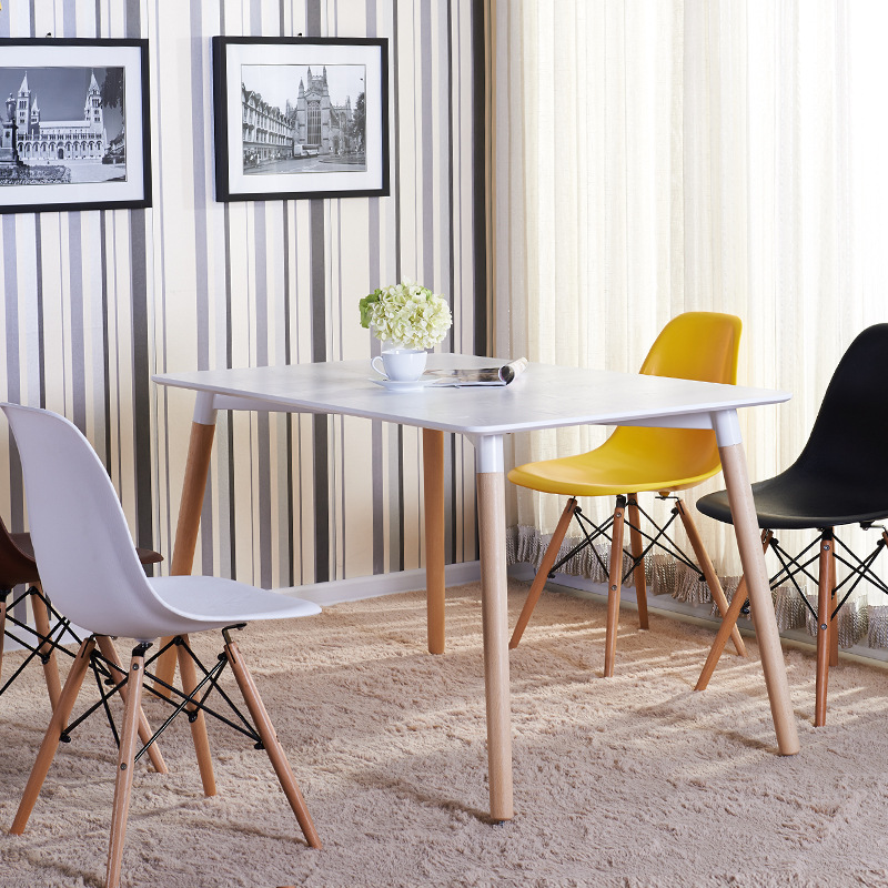 现代简约实木餐桌 伊姆斯方桌咖啡厅 甜品店桌椅简易