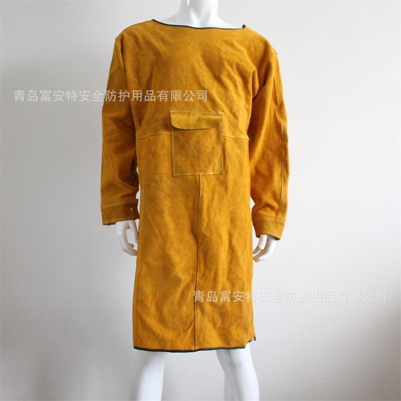 厂家直销牛皮电焊反穿衣电焊电焊工防护服带袖围裙劳保牛皮电焊服
