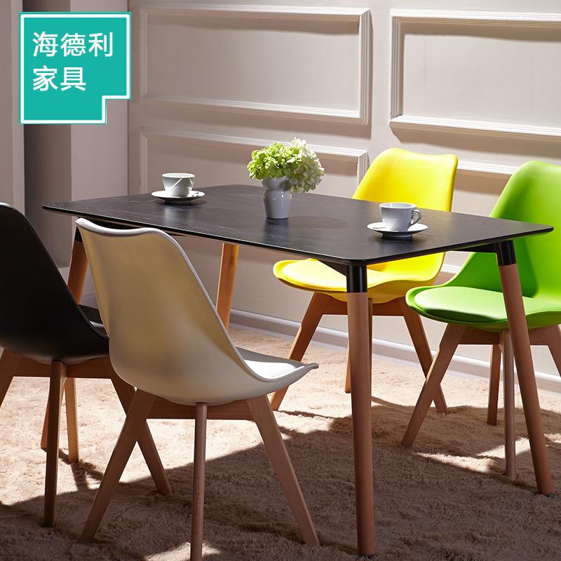 现代简约实木餐桌 伊姆斯方桌咖啡厅 甜品店桌椅简易桌子厂家定制