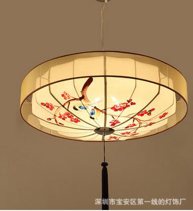 古代手绘中式吊灯圆形古典布艺餐厅客厅茶馆酒店会所书房工程灯笼