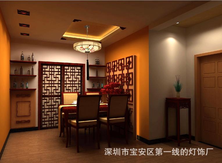 古代手绘中式吊灯圆形古典布艺餐厅客厅茶馆酒店会所