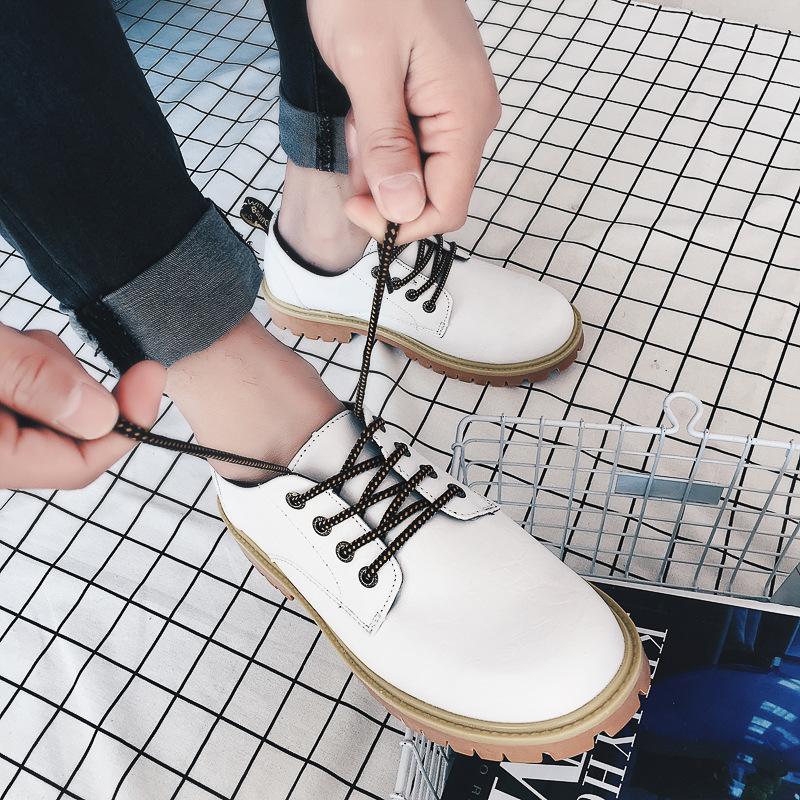 时髦皮面低帮马丁鞋盛行男鞋来图来样加工布洛克