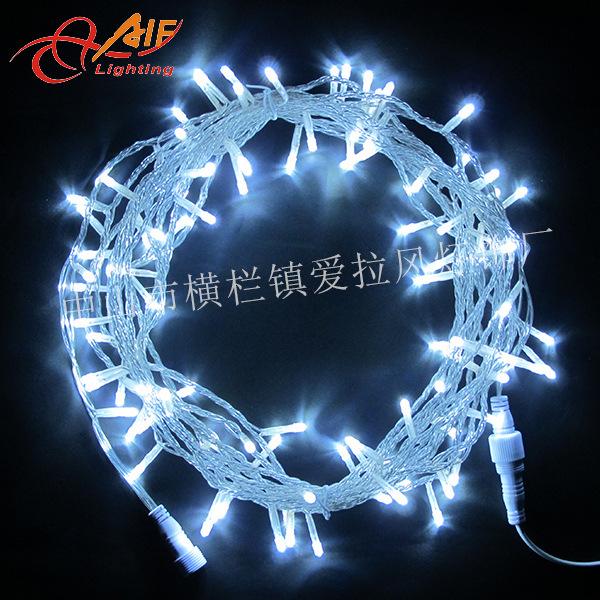 户内景观亮化工程用220V10米100灯通明线白光LED防水灯串