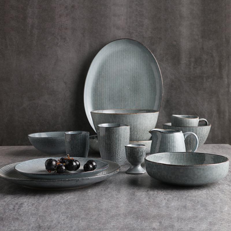 内销创意怀旧酒店餐厅陶瓷餐具异形麻点盘子沙拉碗面碗鱼盘碟子