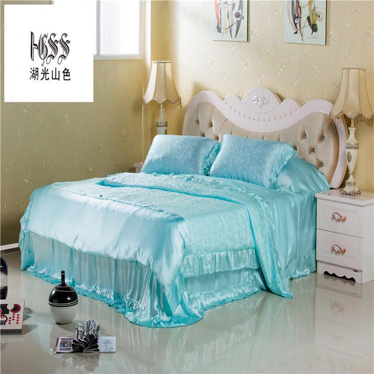 100%真丝双面纯色提花床上用品真丝套件 湖光山色 桑蚕丝