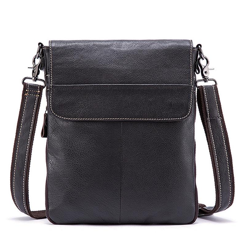 韩版竖款单肩包加工定制牛皮手工男士斜挎包真皮包 包盖式
