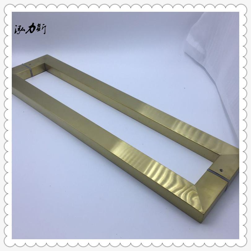 厂家直销玻璃门豪华拉手304/201不锈钢方管电镀钛金大门拉手