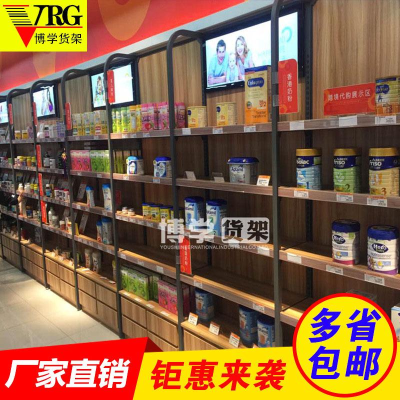 钢木质连锁便利店零食货架 食品 中量级 调节式货架 木质 单面