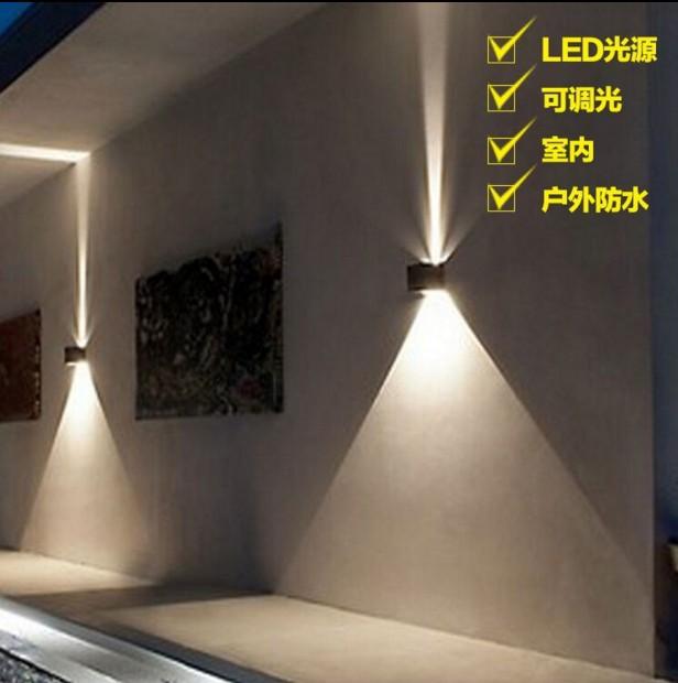 LED壁灯方形cob上下防水户外简洁床头酒店别墅墙工程零售一件代发