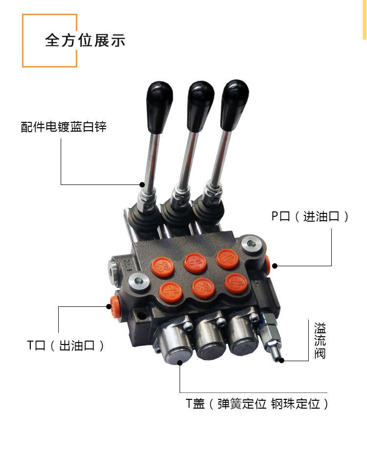 p80保加利亚系列手动控制阀 控制阀 工程机械 多路换向阀液压阀 直通