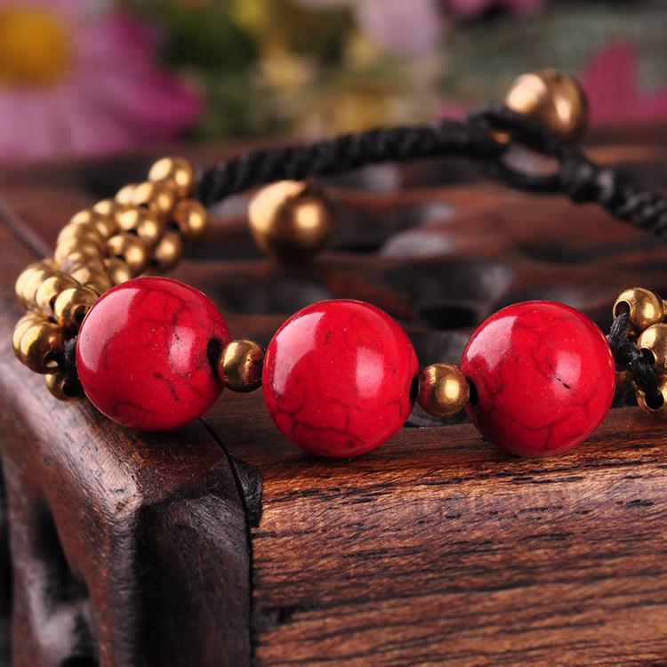 手工编织蜡绳串珠松石时髦女士手链饰品零售28154 泰式风格